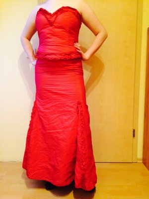 Corsage Dress red-brick red polyester