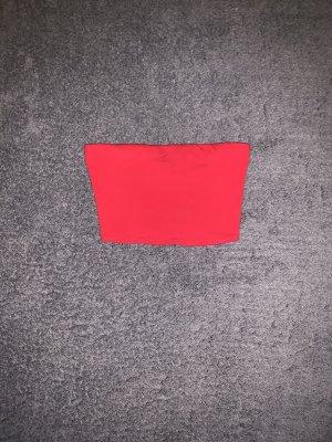 H&M Top z dekoltem typu bandeau czerwony
