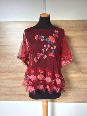Rotes Blumen Stickerei Shirt, Bluse von Zara, Gr. M (NEU)