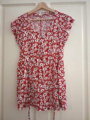 Rotes Blumenkleid buntes Sommerkleid