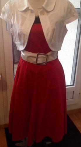 Orsay Vestido bustier rojo oscuro-blanco Algodón