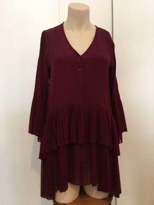 Zara Women Robe à volants rouge carmin