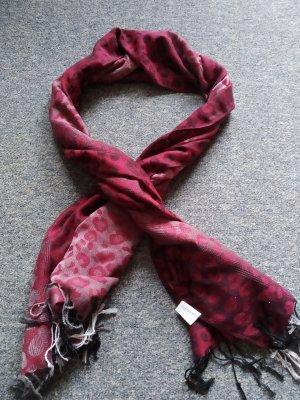Mantilla rojo oscuro-rosa empolvado tejido mezclado