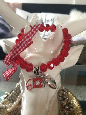 Rotes Glitzer Armband mit Karrierten Schleife und Wiesen Accessoires