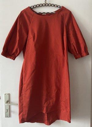 unbekannte High Low Dress red-brick red cotton