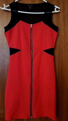Amisu Midi-jurk zwart-baksteenrood