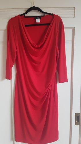 Rotes Kleid mit Wasserfall Kragen Gr. M. Neu!