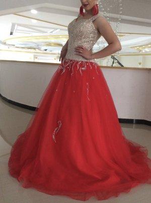 Evening Dress red-cream