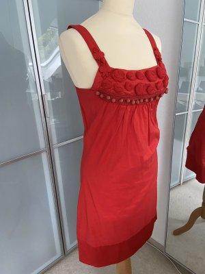 Closed Midi Dress brick red cotton