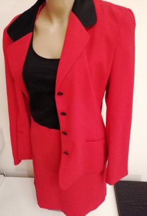 rotes Kostüm Damen Blazer mit Rock Größe 38