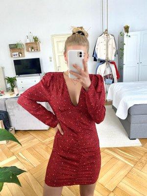 Rotes langärmliges Kleid mit Muster Zara S