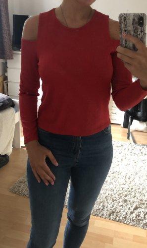 Rotes Langarmshirt mit Cutouts