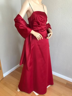 Rotes langes Abenkleid - Schulterfrei Ballrobe - Abikleid