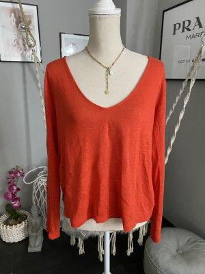 Rotes lockeres langarm Shirt Gr L