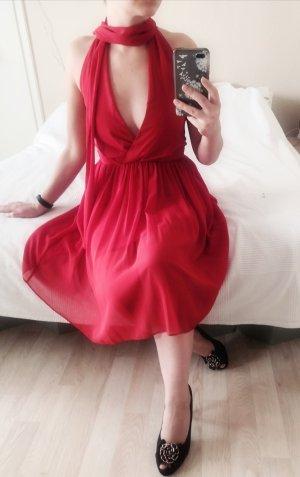 Asos Vestido de cuello Halter rojo