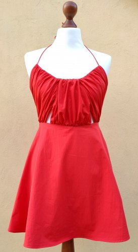 Zara Halter Dress red cotton
