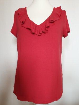 rotes Shirt Gr. 42 mit Rüschenkragen