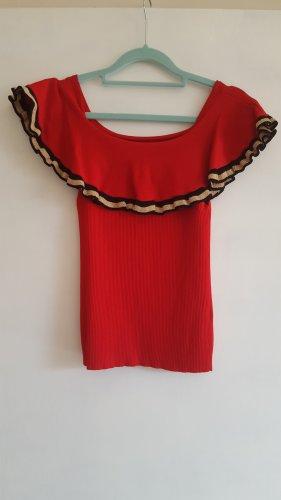 Koszula typu carmen czerwony Poliester