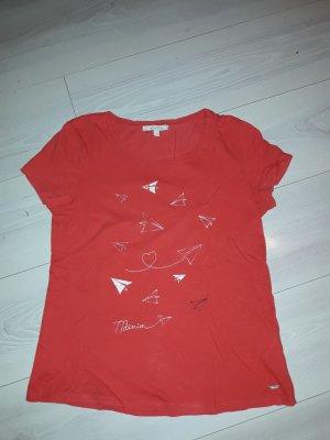 rotes t-shirt mit papierfliegern in gr. s