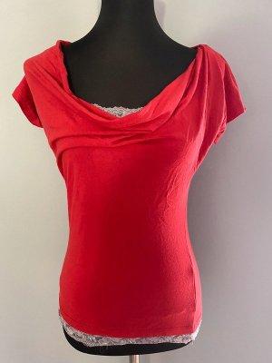 Rotes T-Shirt von Bodyflirt mit Spitze, Gr. XS