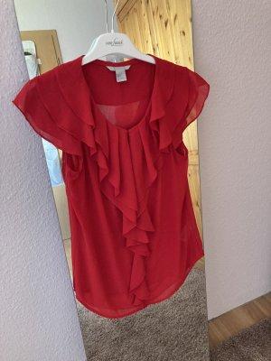 H&M Basic Top z dekoltem woda czerwony