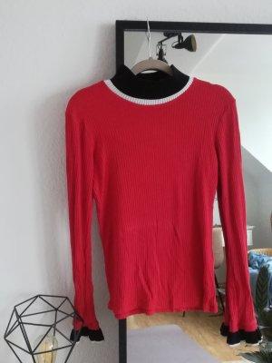 Zara Koszulka z golfem czerwony