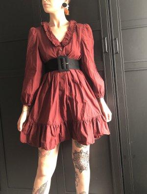 Zara Woman Robe à volants rouge foncé