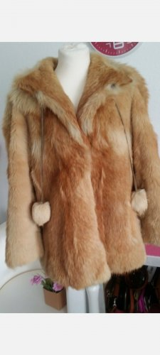 Vintage Abrigo de piel color oro-marrón arena