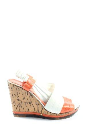 Rovigo Wedge Sandals brown-white casual look
