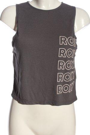 Roxy Basic Top braun Schriftzug gedruckt Casual-Look