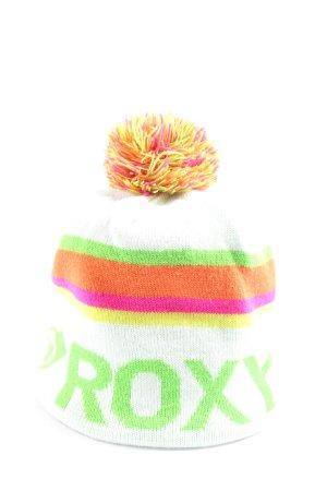 Roxy Beanie wit-groen gedrukte letters casual uitstraling