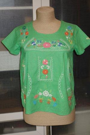 ROXY by Quicksilver besticktes Shirt Baumwolle/Leinen in grün Gr.M