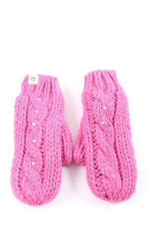 Roxy Padded Gloves pink cable stitch casual look