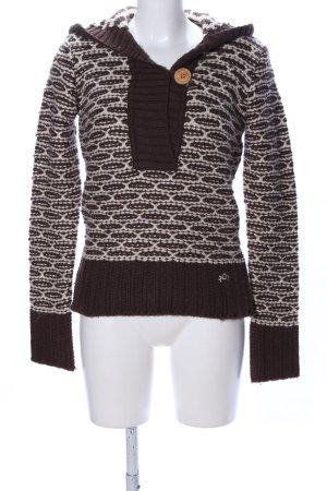 Roxy Kapuzenpullover braun-wollweiß grafisches Muster Casual-Look