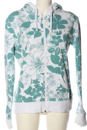 Roxy Sweat à capuche blanc-turquoise imprimé allover style décontracté