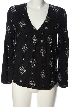 Roxy Langarm-Bluse schwarz-weiß Allover-Druck Casual-Look