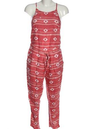 Roxy Langer Jumpsuit rojo-blanco estampado gráfico look casual