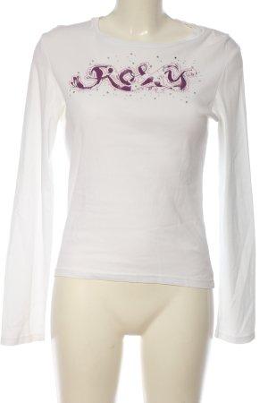 Roxy Longsleeve weiß-lila Schriftzug gedruckt Casual-Look