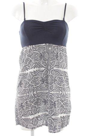 Roxy Minikleid weiß-dunkelblau abstraktes Muster Casual-Look