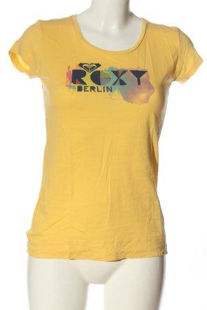 Roxy T-shirt imprimé jaune primevère-bleu imprimé avec thème