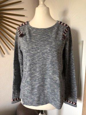 Roxy Pullover dunkelblau-meliert Gr. M mit rosa-dunkelblauen Details, Sweatshirt
