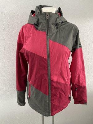 Roxy Skijacke L 40/42 grau rot Pink Kapuze Winterjacke