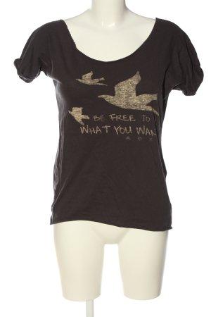 Roxy Strickshirt braun-wollweiß Schriftzug gedruckt Casual-Look