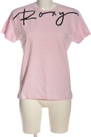 Roxy T-Shirt pink-schwarz Schriftzug gedruckt Casual-Look