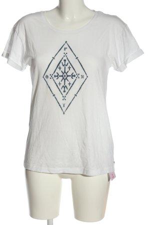 Roxy Camiseta blanco-azul estampado temático look casual
