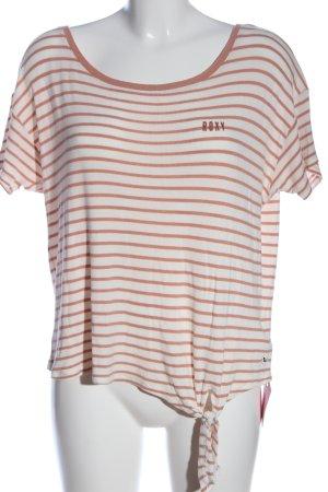 Roxy T-Shirt wollweiß-braun Streifenmuster Casual-Look