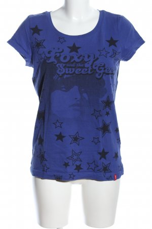 Roxy T-Shirt blau-schwarz Motivdruck Casual-Look