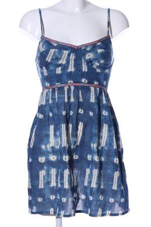 Roxy Trägerkleid blau-wollweiß abstraktes Muster Casual-Look