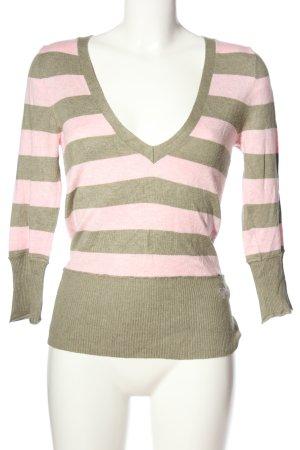 Roxy V-Ausschnitt-Pullover pink-wollweiß Streifenmuster Casual-Look