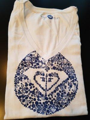 Roxy - weißes T-Shirt mit blauem Print